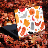 two hands holding personalized Macbook carry bag case with Halloween design swap
