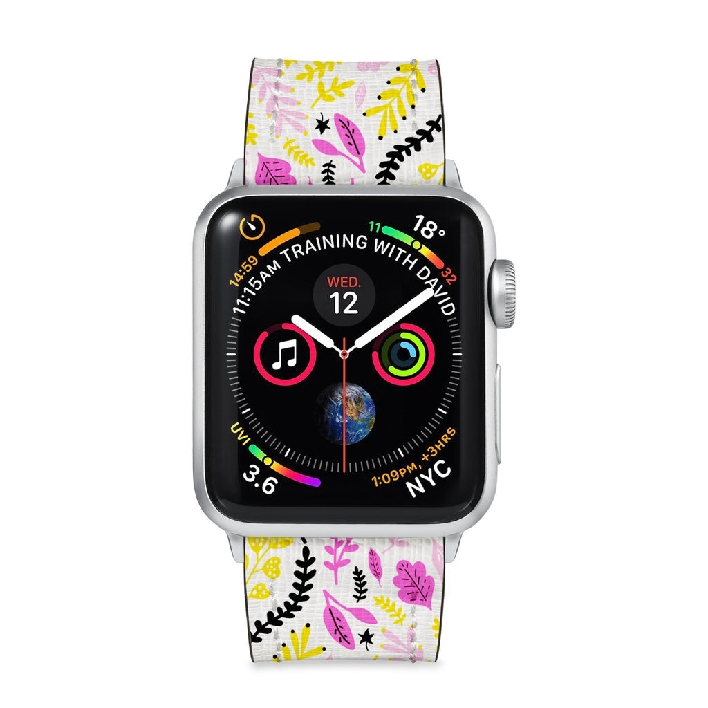 Our Printed Leather Apple Watch Band with Autumn 1 design are made of water- and scratch-resistant saffiano leather because we know you wear your apple watch every, single, day. - swap
