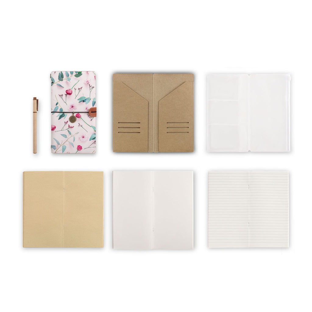 midori style traveler's notebook with Flat Flower 2 design, refills and accessories