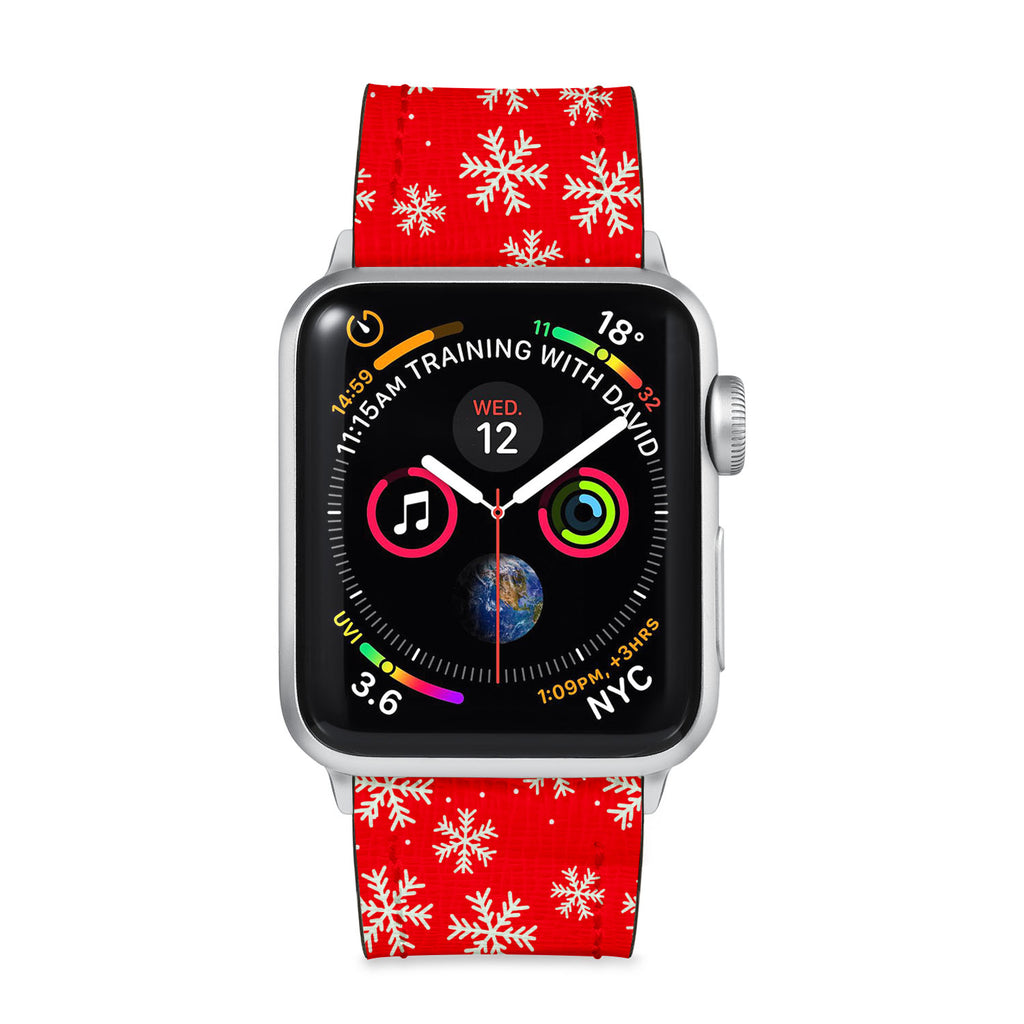 Our Printed Leather Apple Watch Band with Christmas 6 design are made of water- and scratch-resistant saffiano leather because we know you wear your apple watch every, single, day. - swap