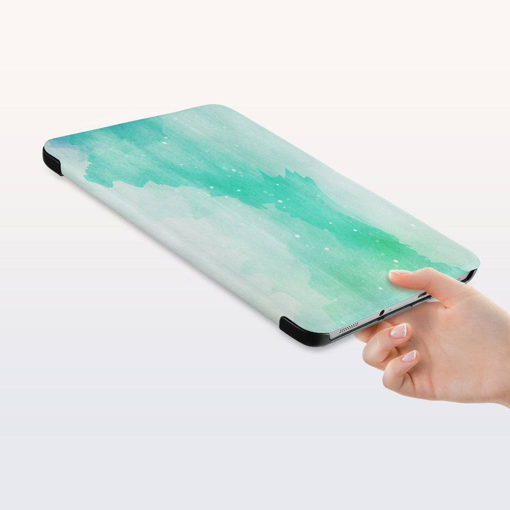 a hand is holding the Personalized Samsung Galaxy Tab Case with Abstract Watercolor Splash design