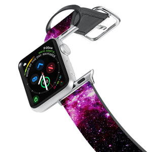 Printed Leather Apple Watch Band with Galaxy design. Designed for Apple Watch Series 4,Works with all previous versions of Apple Watch.
