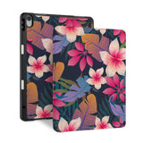 front and back view of personalized iPad case with pencil holder and Tropical Fantasy design
