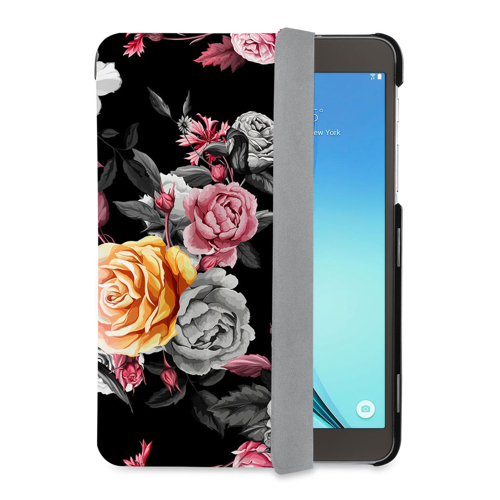 auto on off function of Personalized Samsung Galaxy Tab Case with Black Flower design - swap