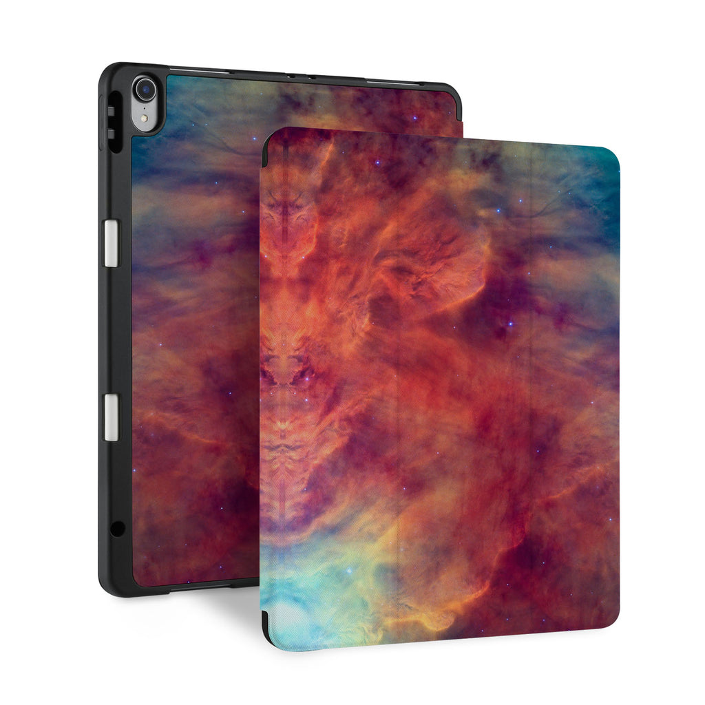 front and back view of personalized iPad case with pencil holder and Galaxy design