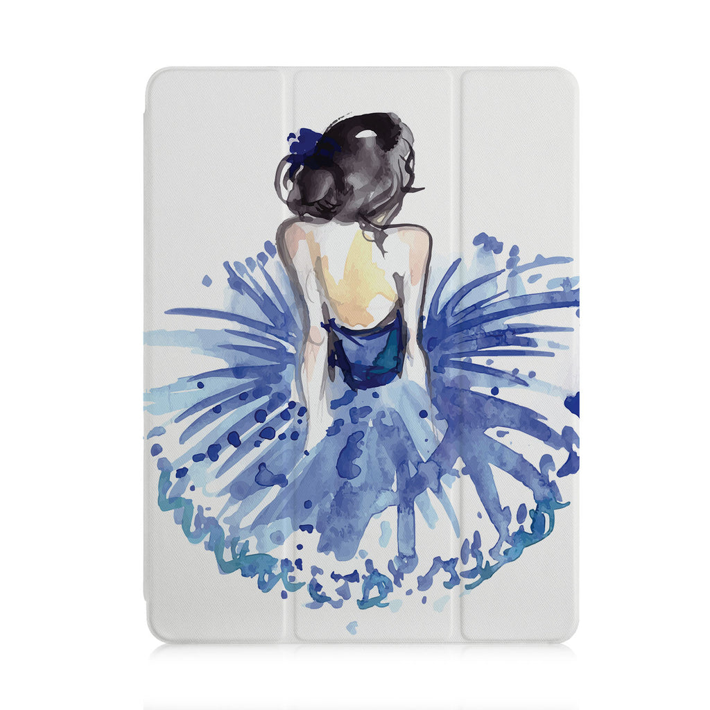 front view of personalized iPad case with pencil holder and Ballet Dancer design