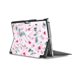 the back side of Personalized Microsoft Surface Pro and Go Case in Movie Stand View with Flat Flower 2 design - swap