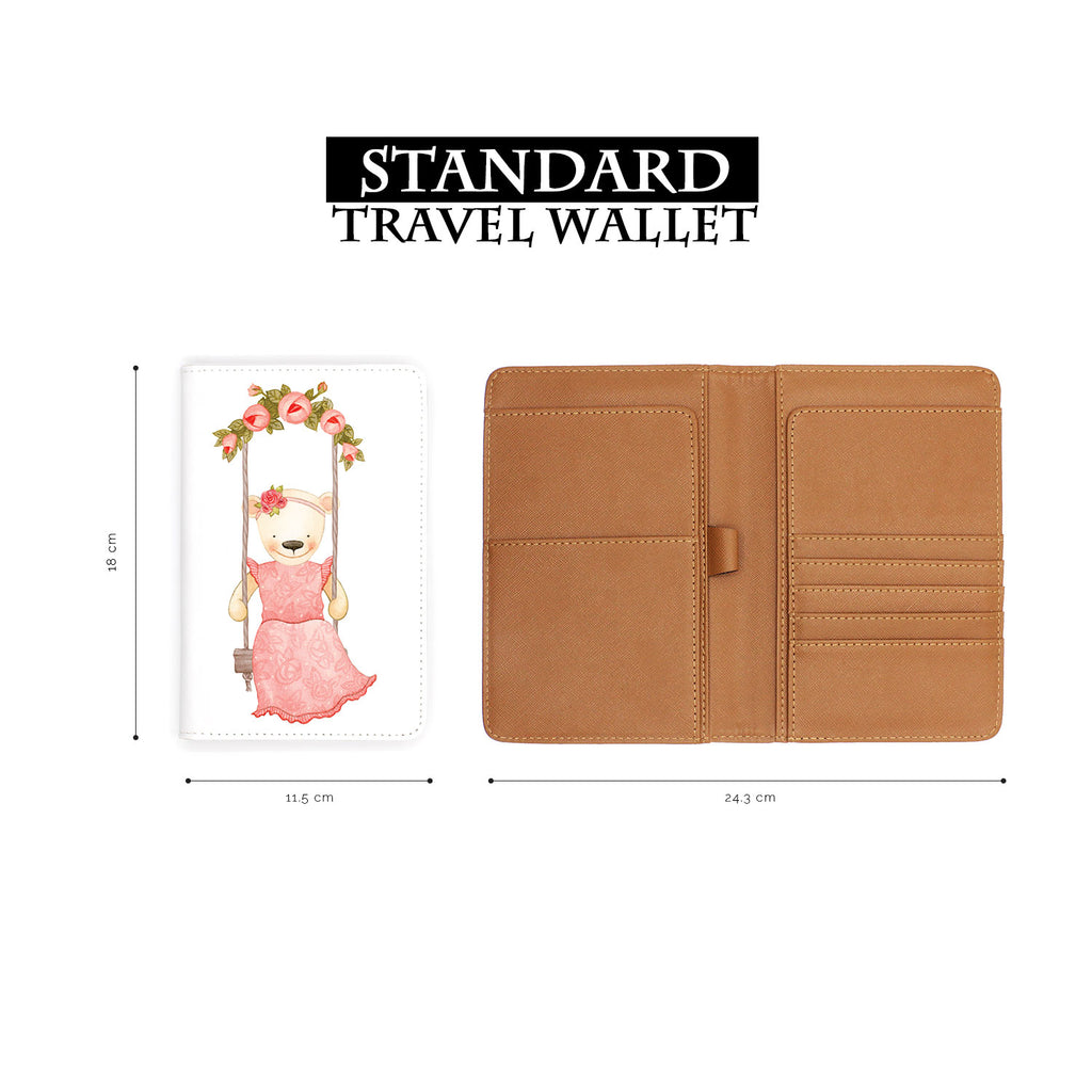 standard size of personalized RFID blocking passport travel wallet with Charming Bear design