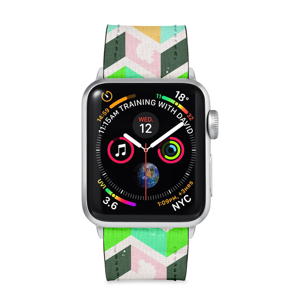 Our Printed Leather Apple Watch Band with Grungedup design are made of water- and scratch-resistant saffiano leather because we know you wear your apple watch every, single, day. - swap