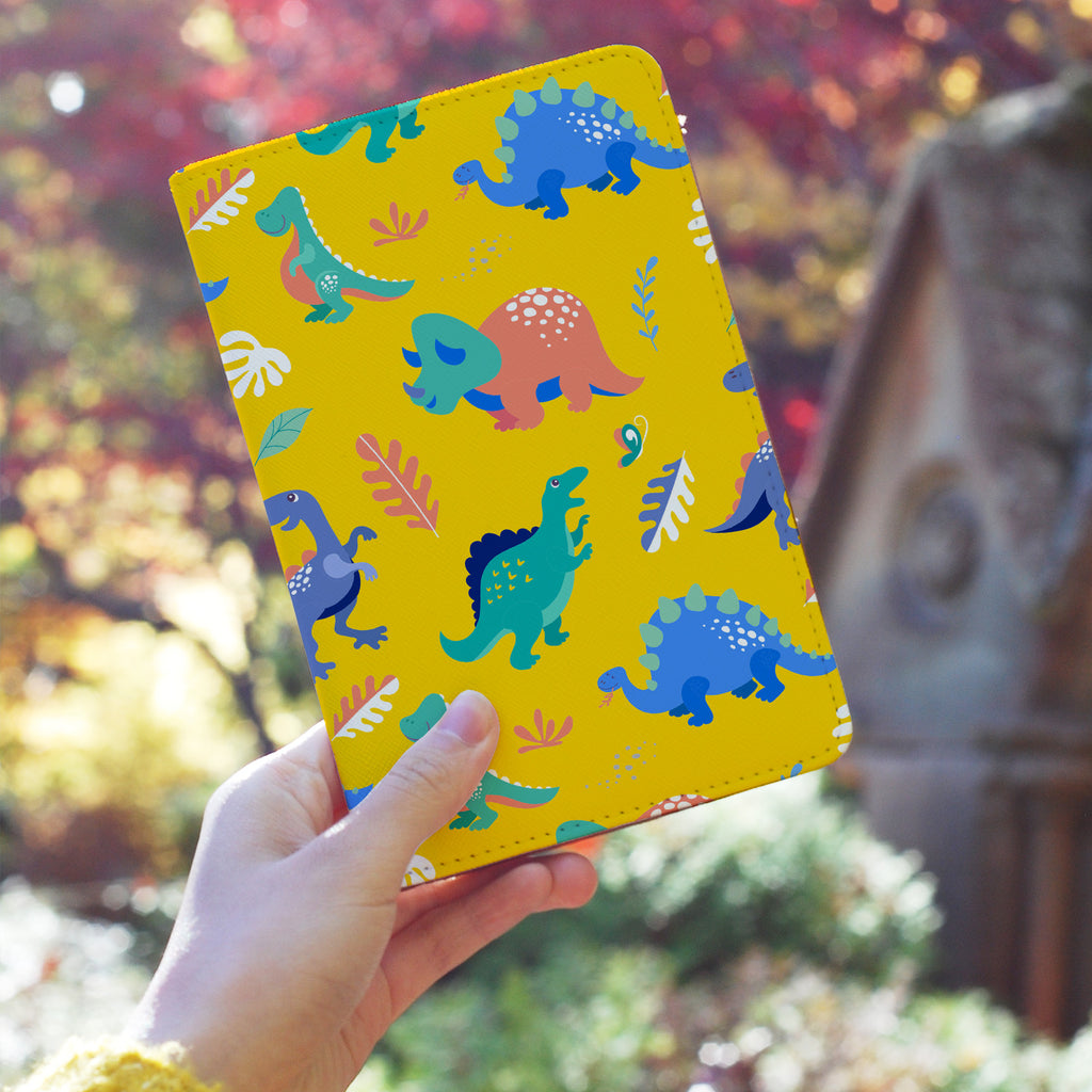 a girl holding personalized RFID blocking passport travel wallet with Dinosour design