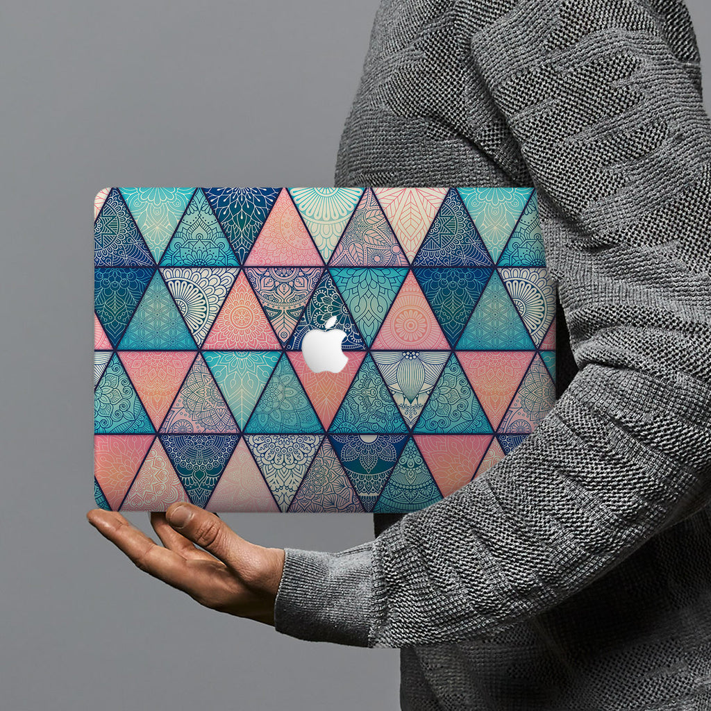 hardshell case with Aztec Tribal design combines a sleek hardshell design with vibrant colors for stylish protection against scratches, dents, and bumps for your Macbook