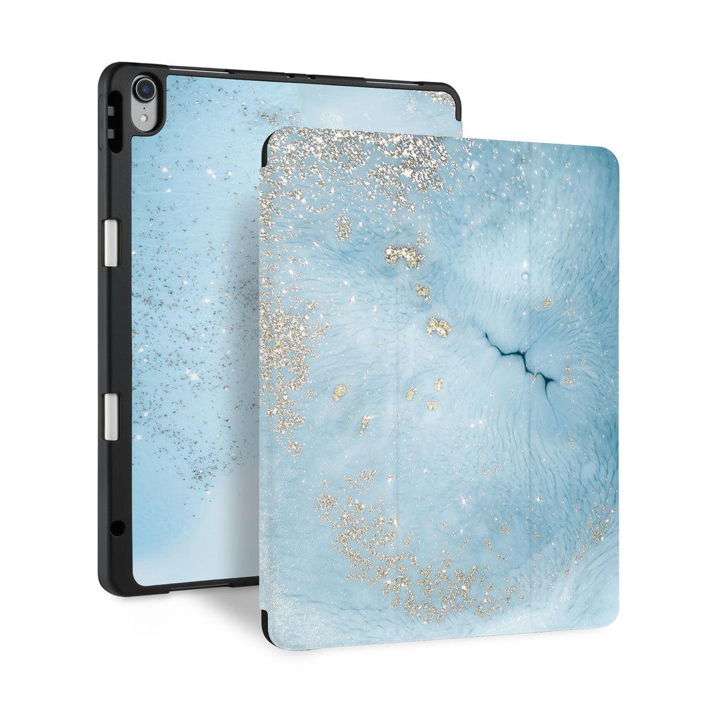 front back and stand view of personalized iPad case with pencil holder and Marble Gold design - swap