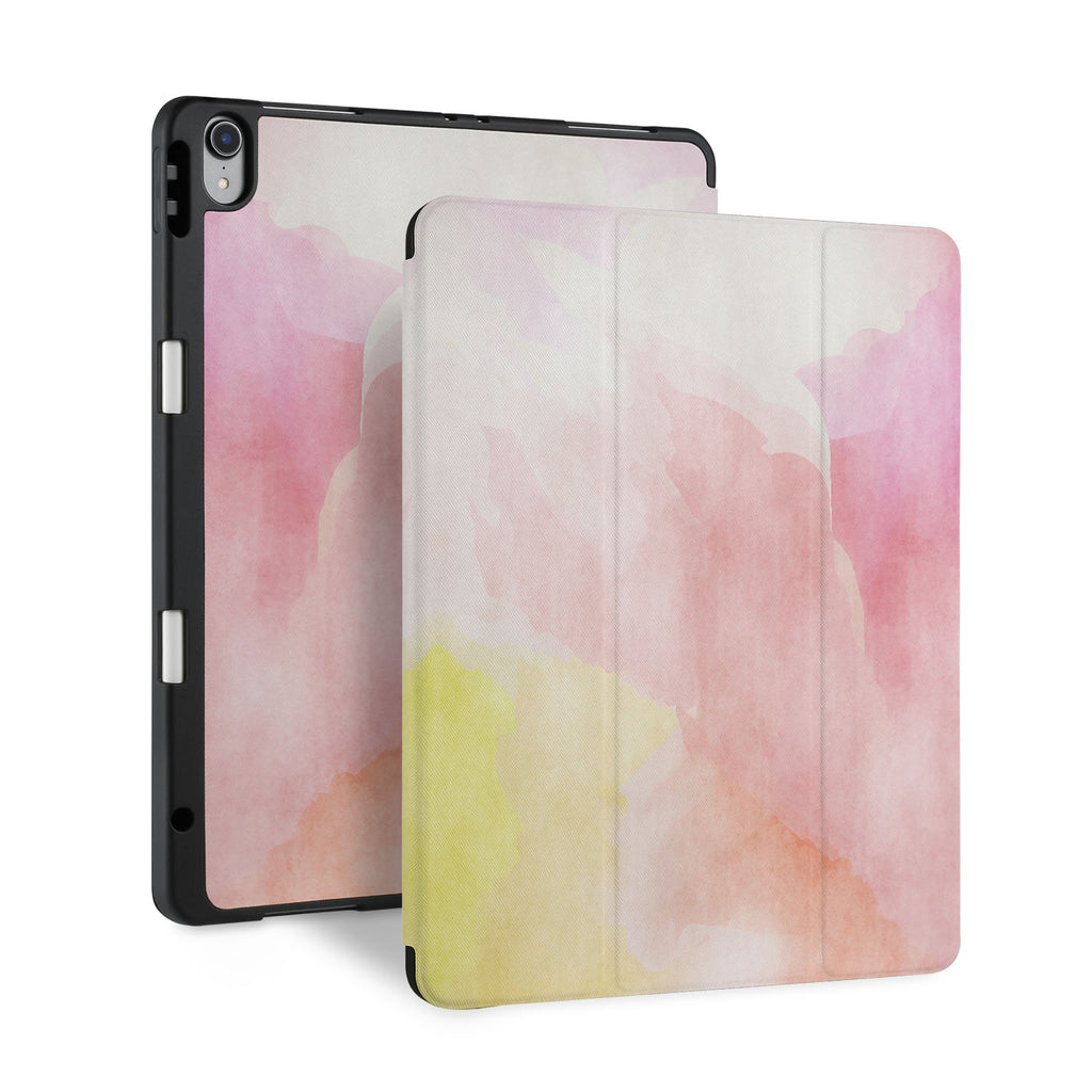 front and back view of personalized iPad case with pencil holder and Watercolour design