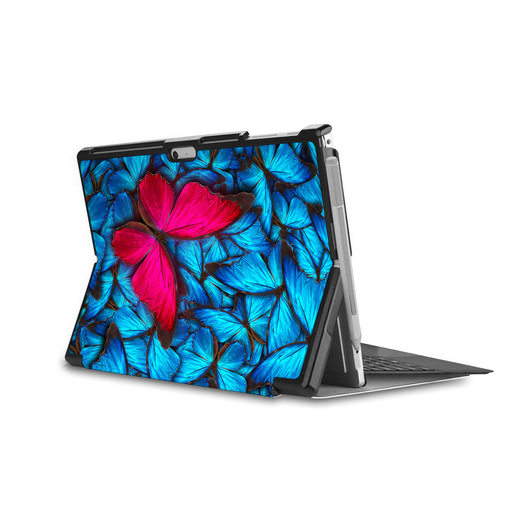 the back side of Personalized Microsoft Surface Pro and Go Case in Movie Stand View with Butterfly design - swap