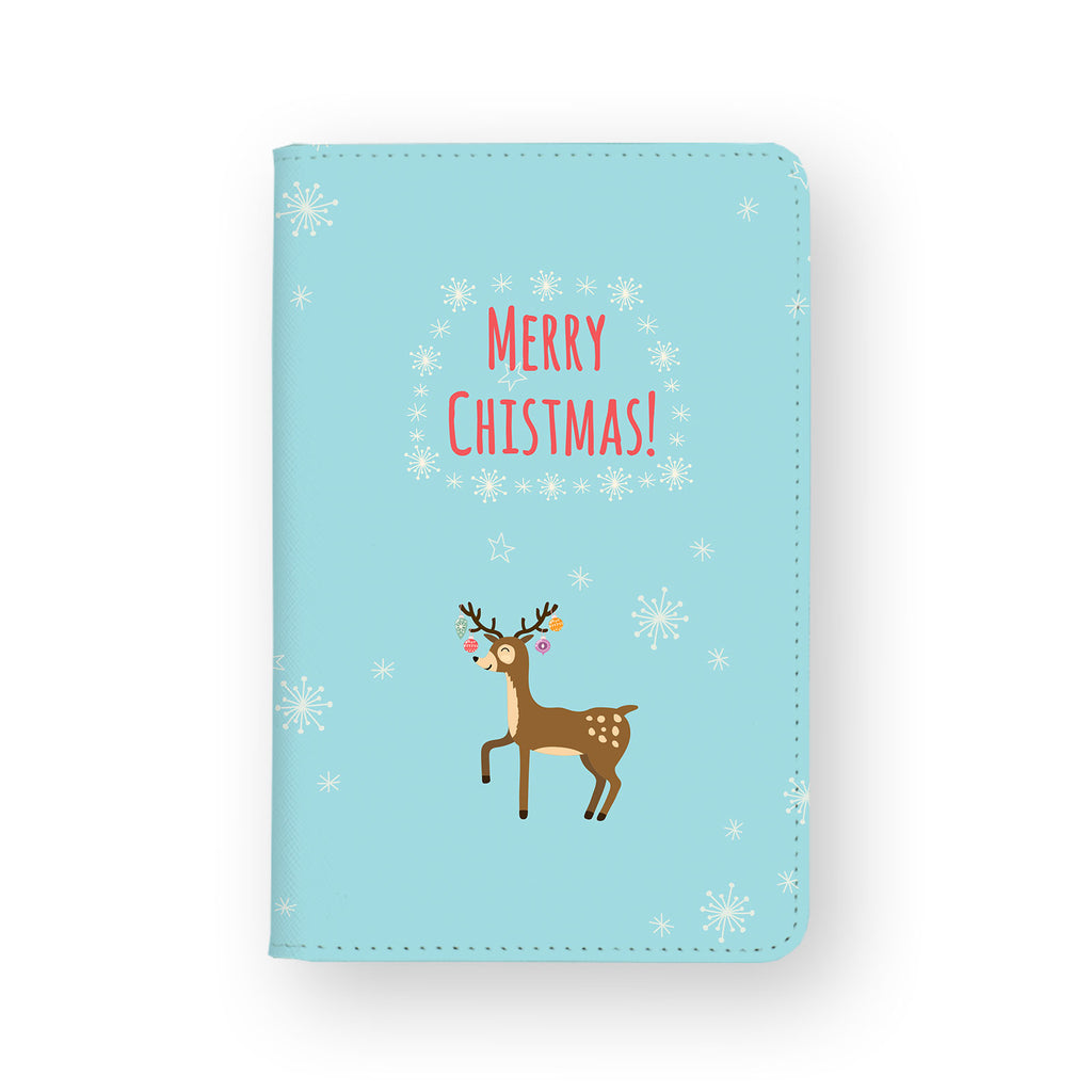 front view of personalized RFID blocking passport travel wallet with Christmas design