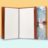 the front top view of midori style traveler's notebook with Bird design