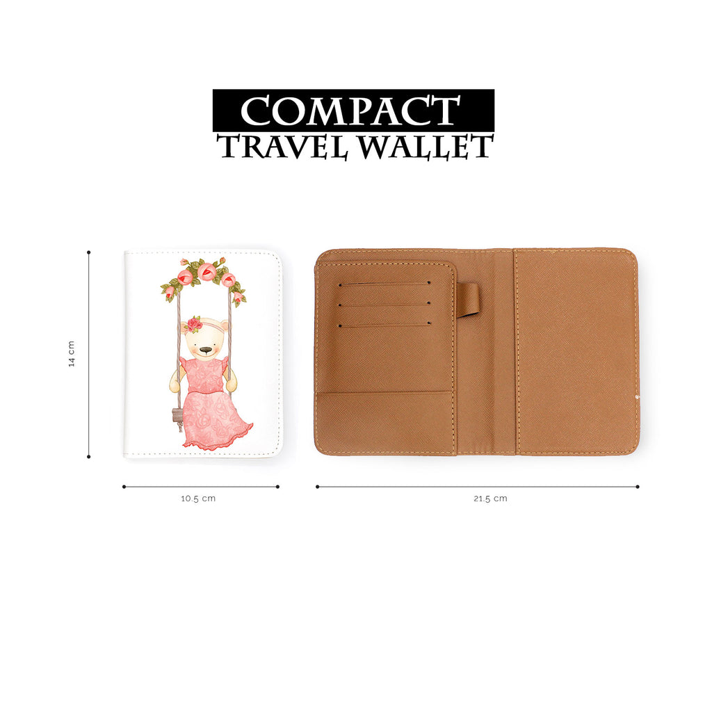compact size of personalized RFID blocking passport travel wallet with Charming Bear design
