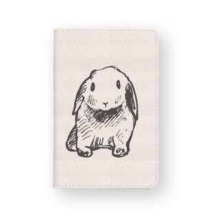front view of personalized RFID blocking passport travel wallet with Little Bunny design