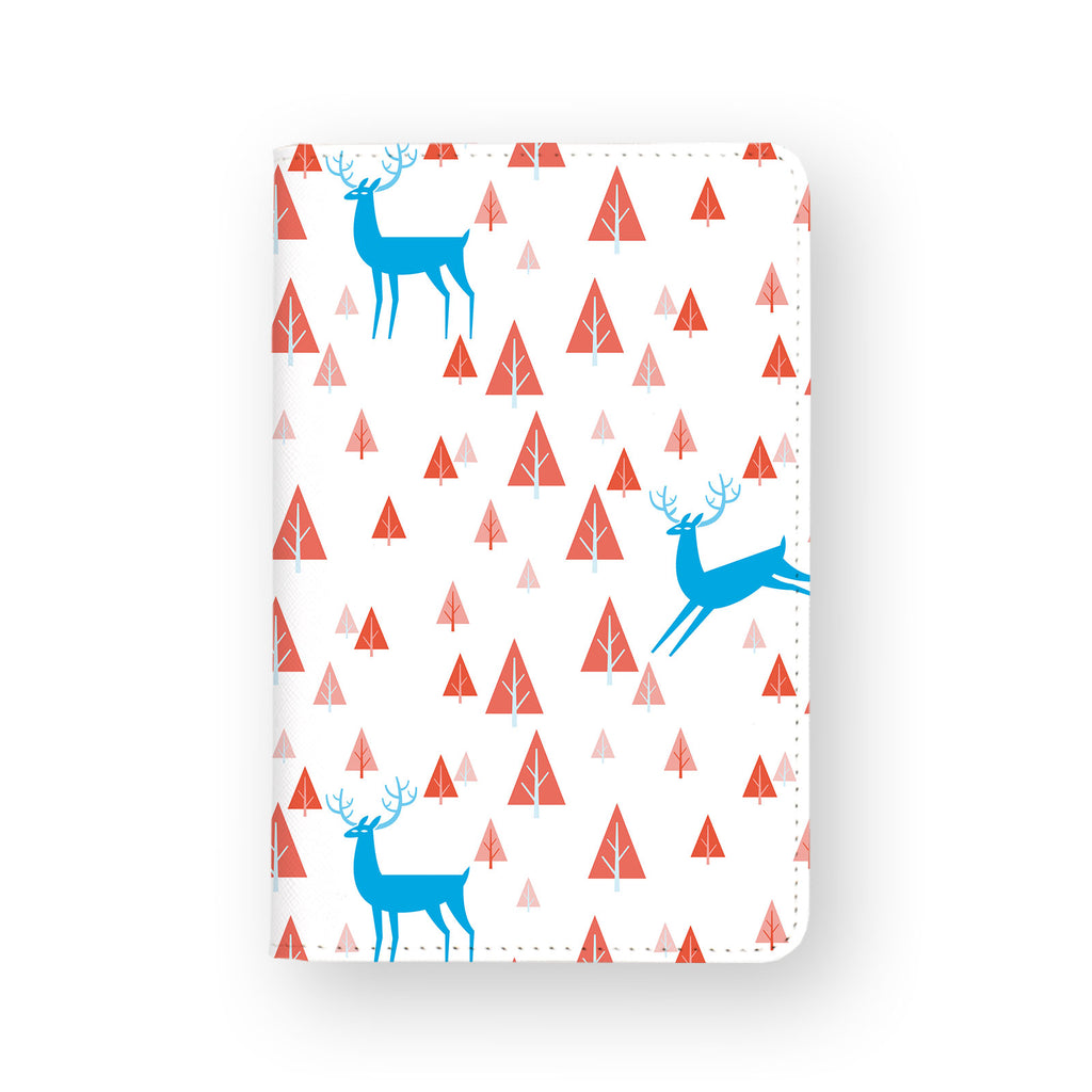 front view of personalized RFID blocking passport travel wallet with Fox And Deer design