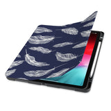 front view of personalized iPad case with pencil holder and Feather design