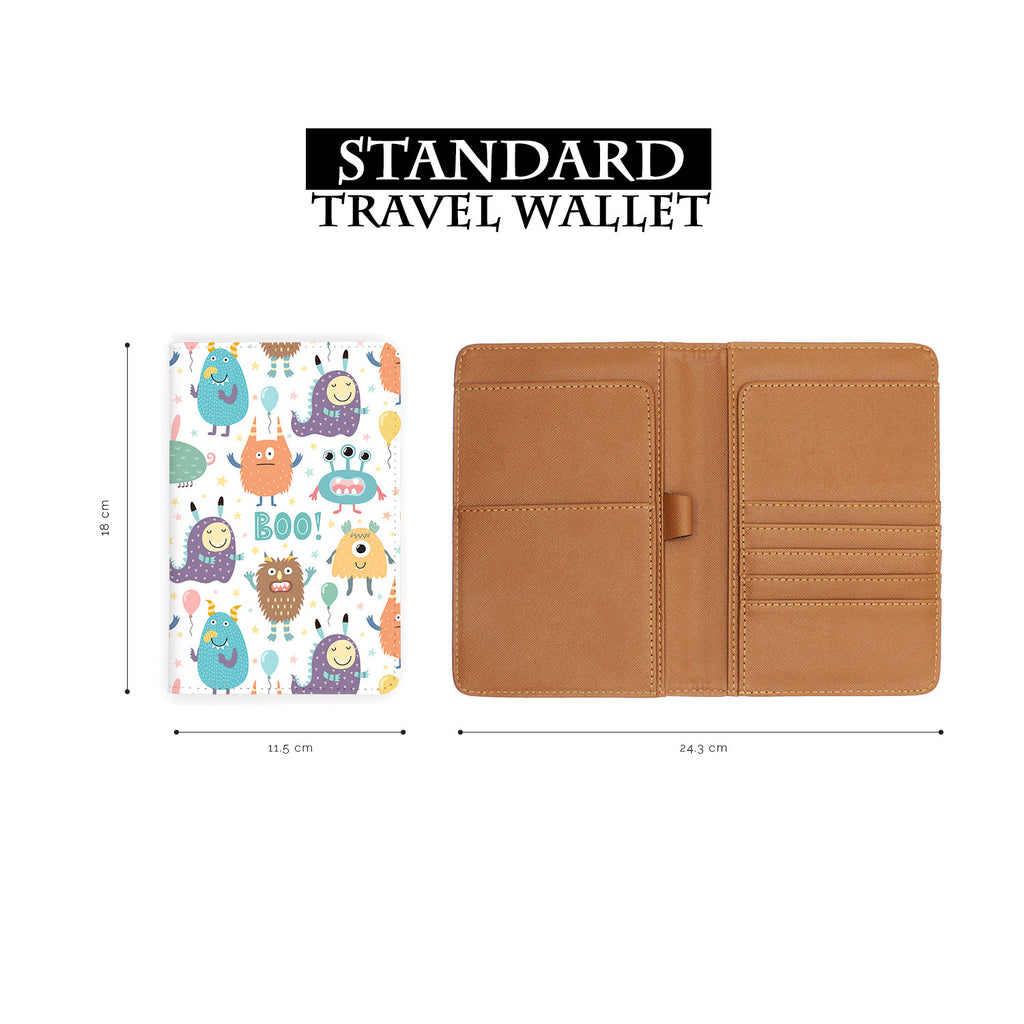 standard size of personalized RFID blocking passport travel wallet with Boo design