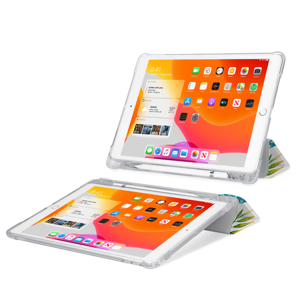 iPad SeeThru Casd with Tropical Leaves Design Rugged, reinforced cover converts to multi-angle typing/viewing stand