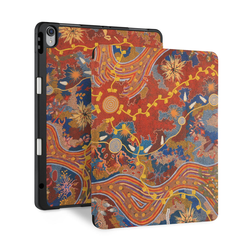 front and back view of personalized iPad case with pencil holder and Acient Art design