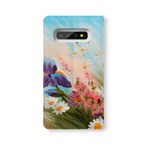 Back Side of Personalized Samsung Galaxy Wallet Case with OilPaintingFlower design - swap