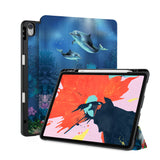 front back and stand view of personalized iPad case with pencil holder and Dolphin design