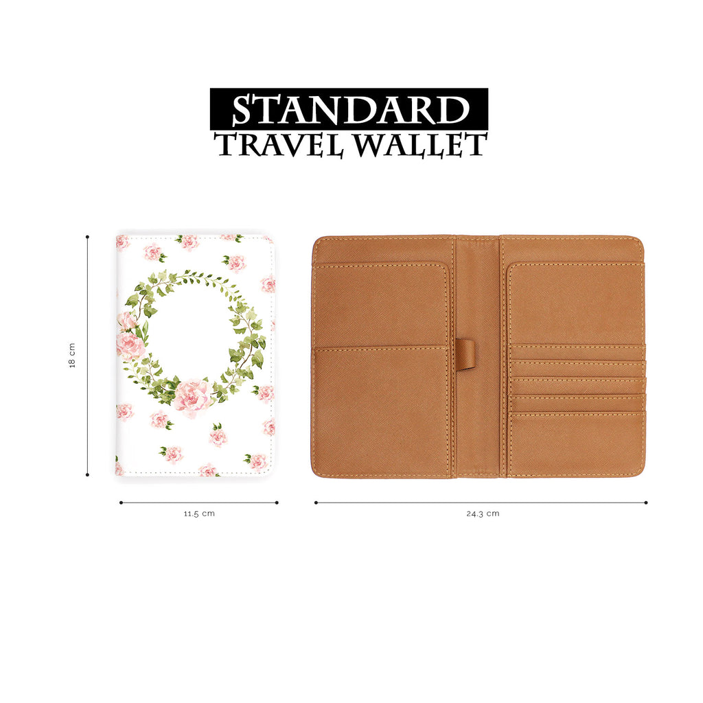standard size of personalized RFID blocking passport travel wallet with Lush Flowers design