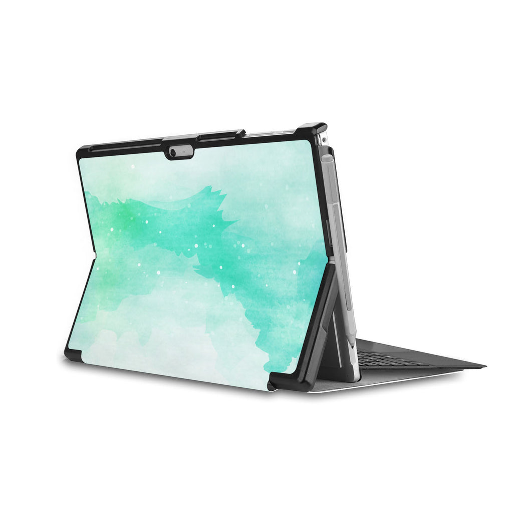swap - the back side of Personalized Microsoft Surface Pro and Go Case in Movie Stand View with Abstract Watercolor Splash design