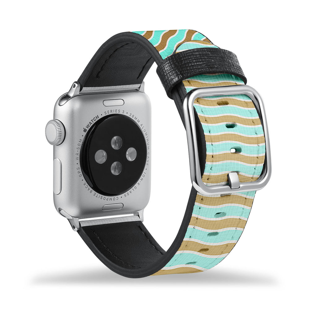Printed Leather Apple Watch Band with Vertical Pattern design Like all Apple Watch bands, you can match this band with any Apple Watch case of the same size