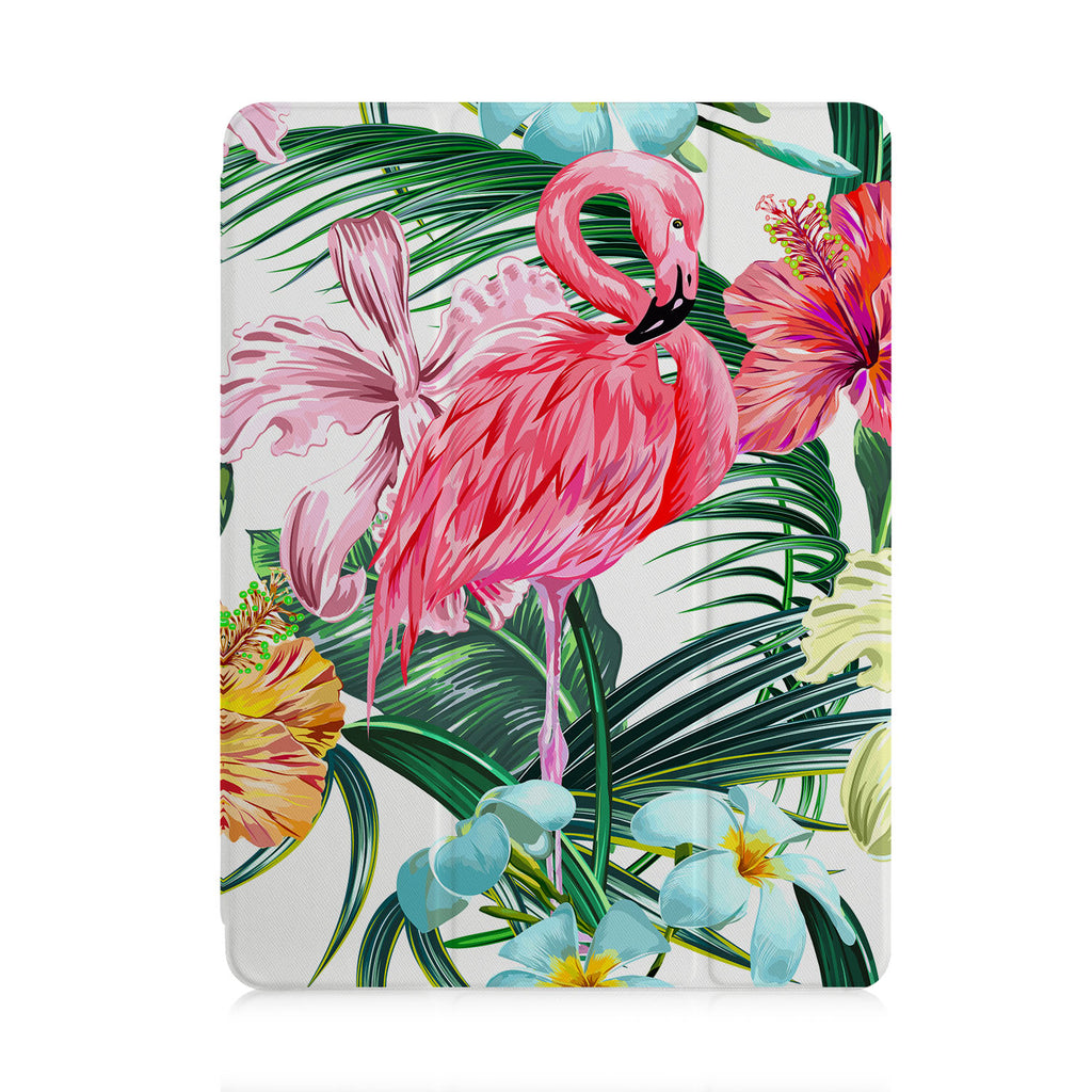 front view of personalized iPad case with pencil holder and Flamingos design