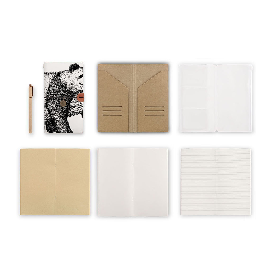 midori style traveler's notebook with Cute Animal design, refills and accessories