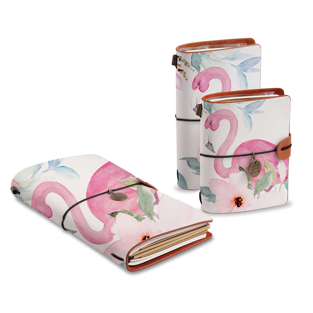 three size of midori style traveler's notebooks with Flamingo design