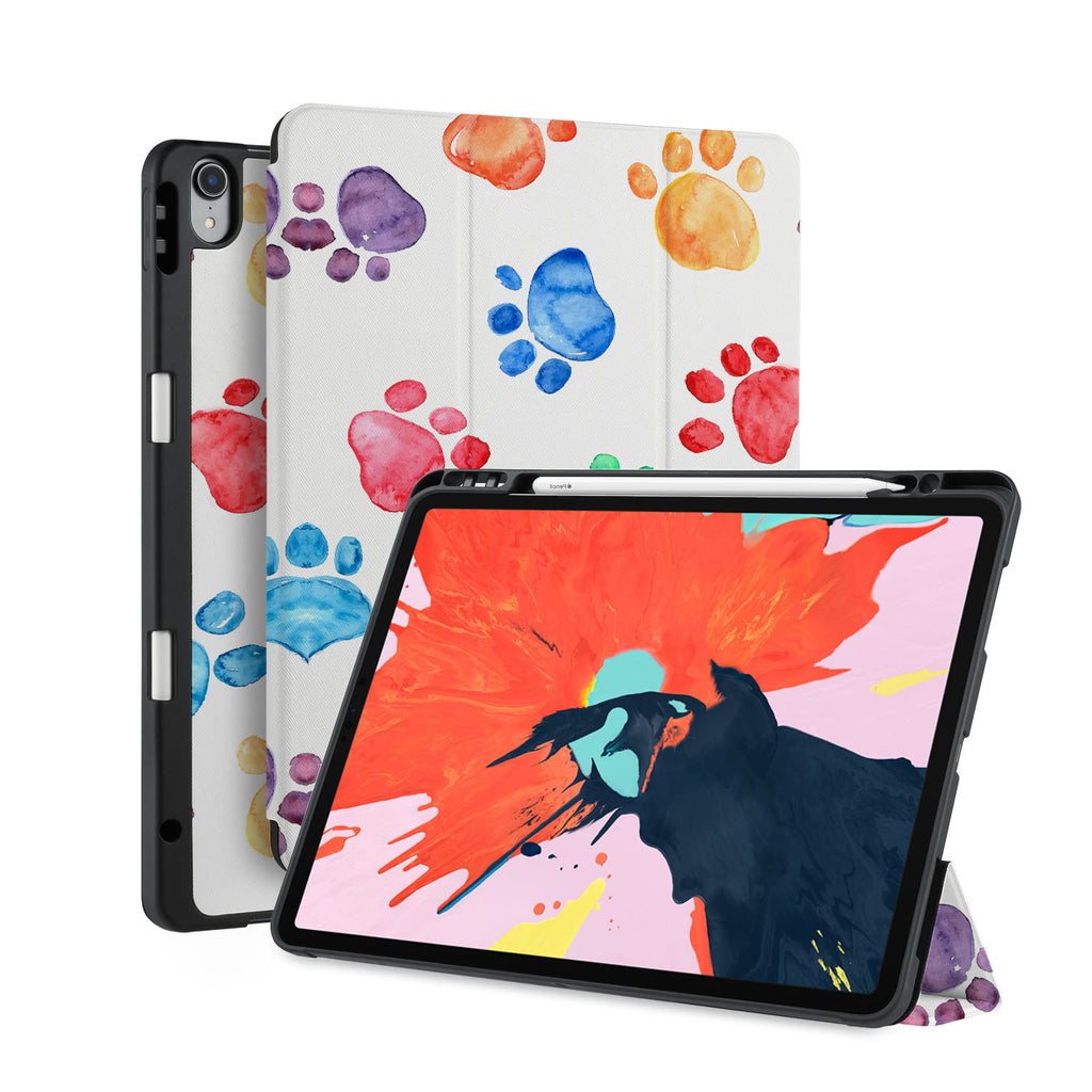 front back and stand view of personalized iPad case with pencil holder and Dog design