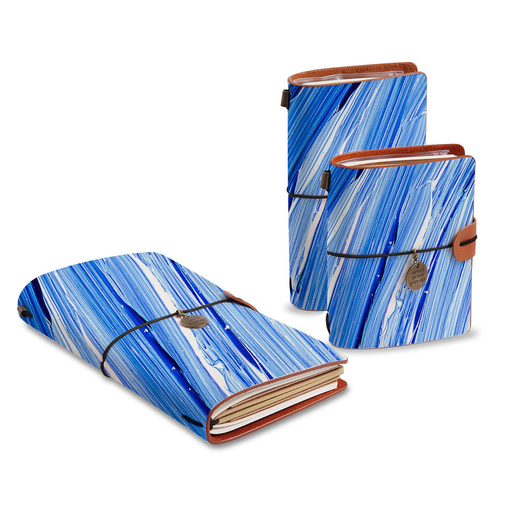 three size of midori style traveler's notebooks with Futuristic design