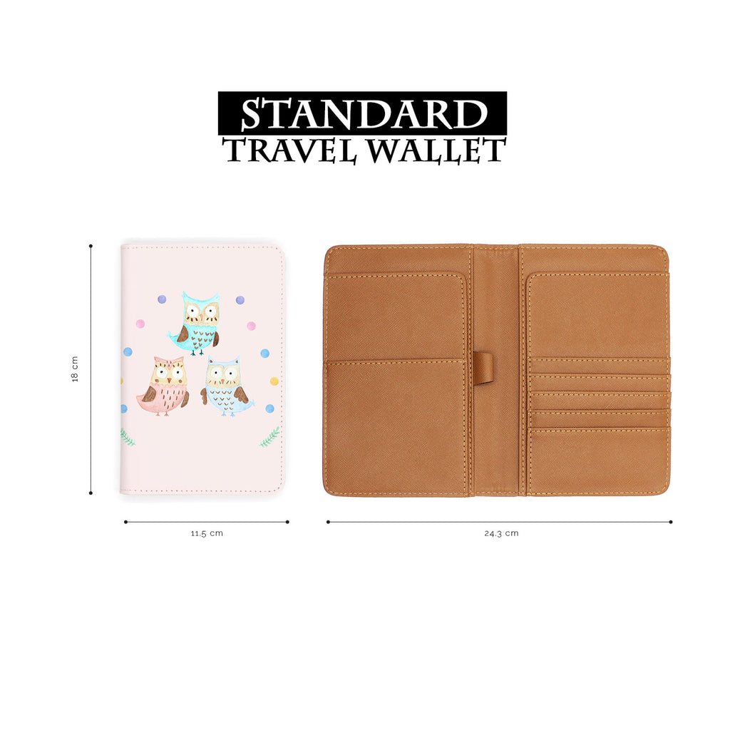 standard size of personalized RFID blocking passport travel wallet with Happy Owls design