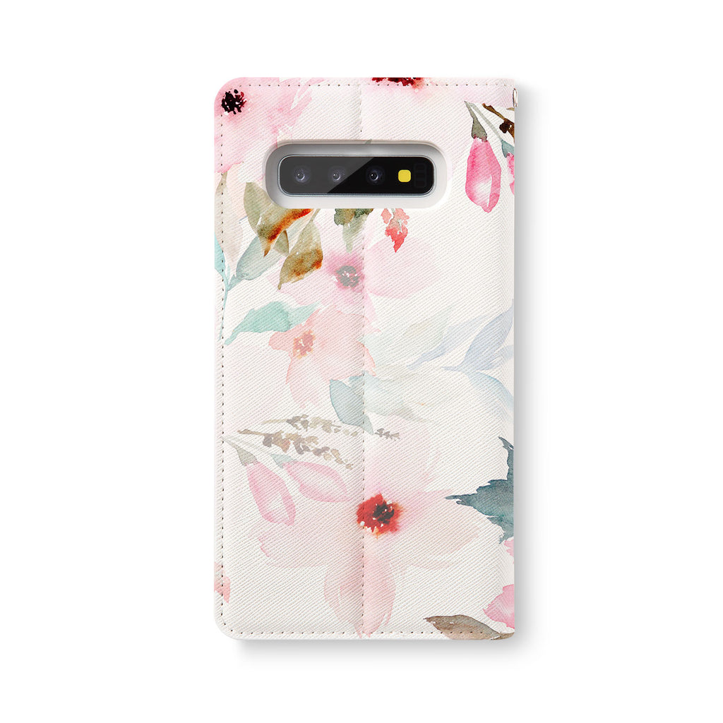Back Side of Personalized Samsung Galaxy Wallet Case with Flamingos design - swap
