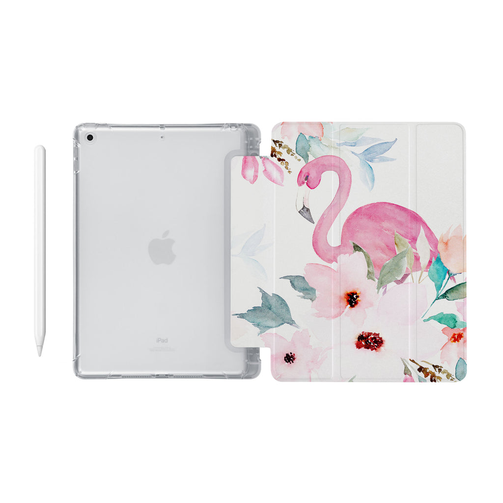 iPad SeeThru Casd with Flamingo Design Fully compatible with the Apple Pencil