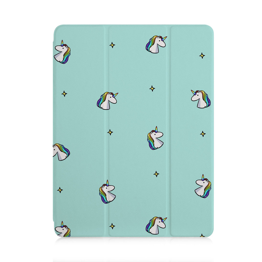 front view of personalized iPad case with pencil holder and Dreamy design