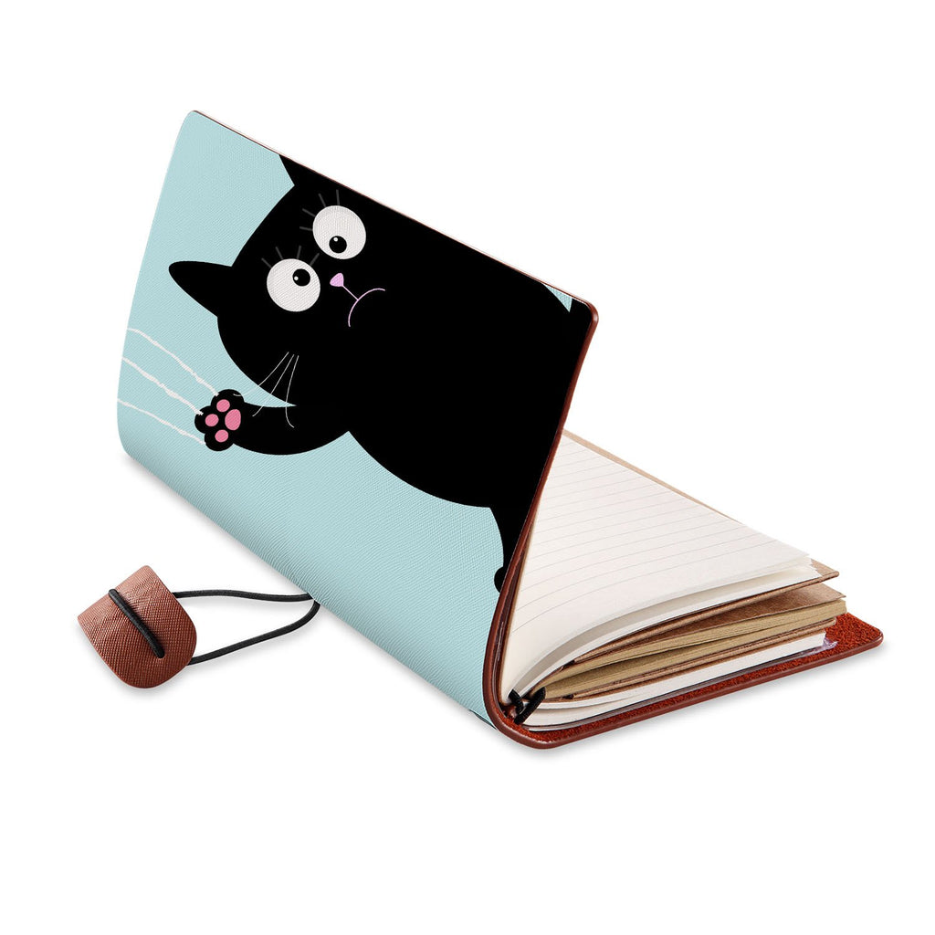 opened view of midori style traveler's notebook with Cat Kitty design