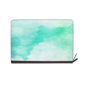 front view of personalized Macbook carry bag case with Abstract Watercolor Splash design