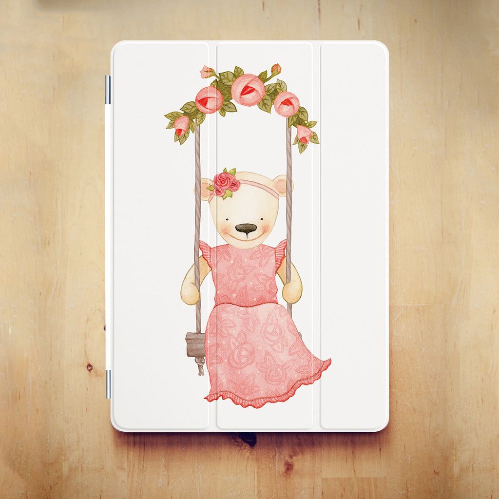 personalized iPad case smart cover with Charming Bear design on the wooden desk