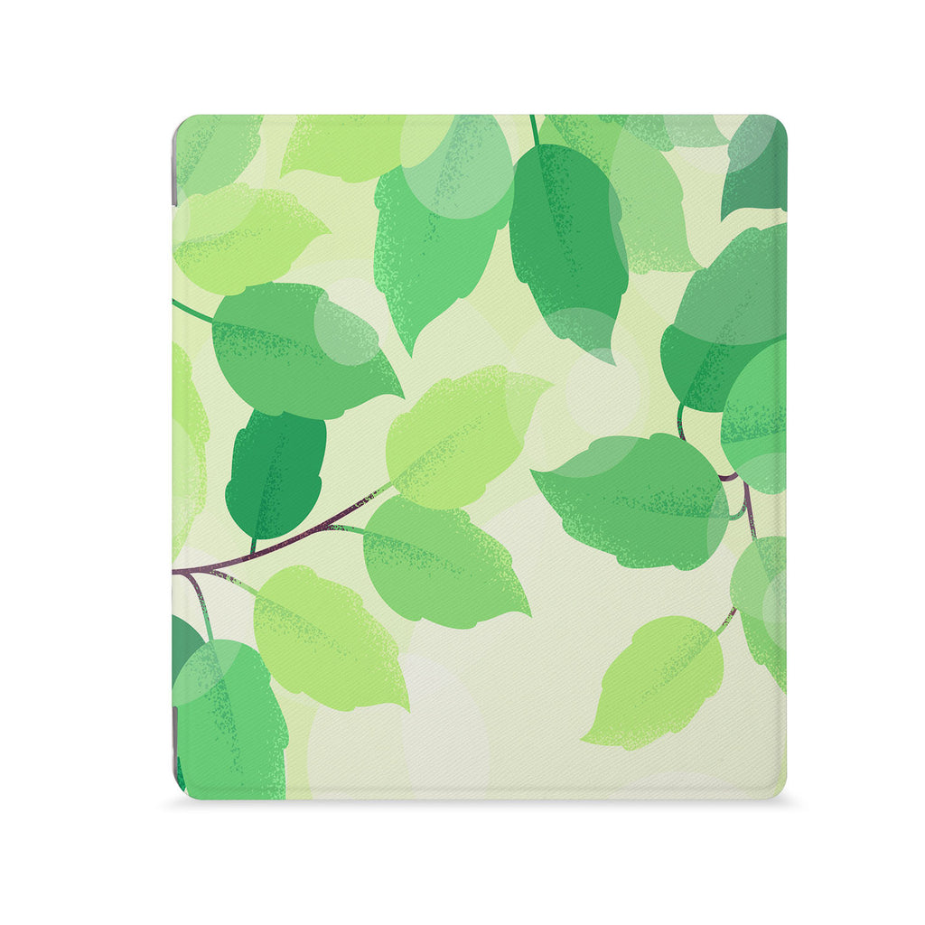 the Front View of Personalized Kindle Oasis Case with Leaves design - swap