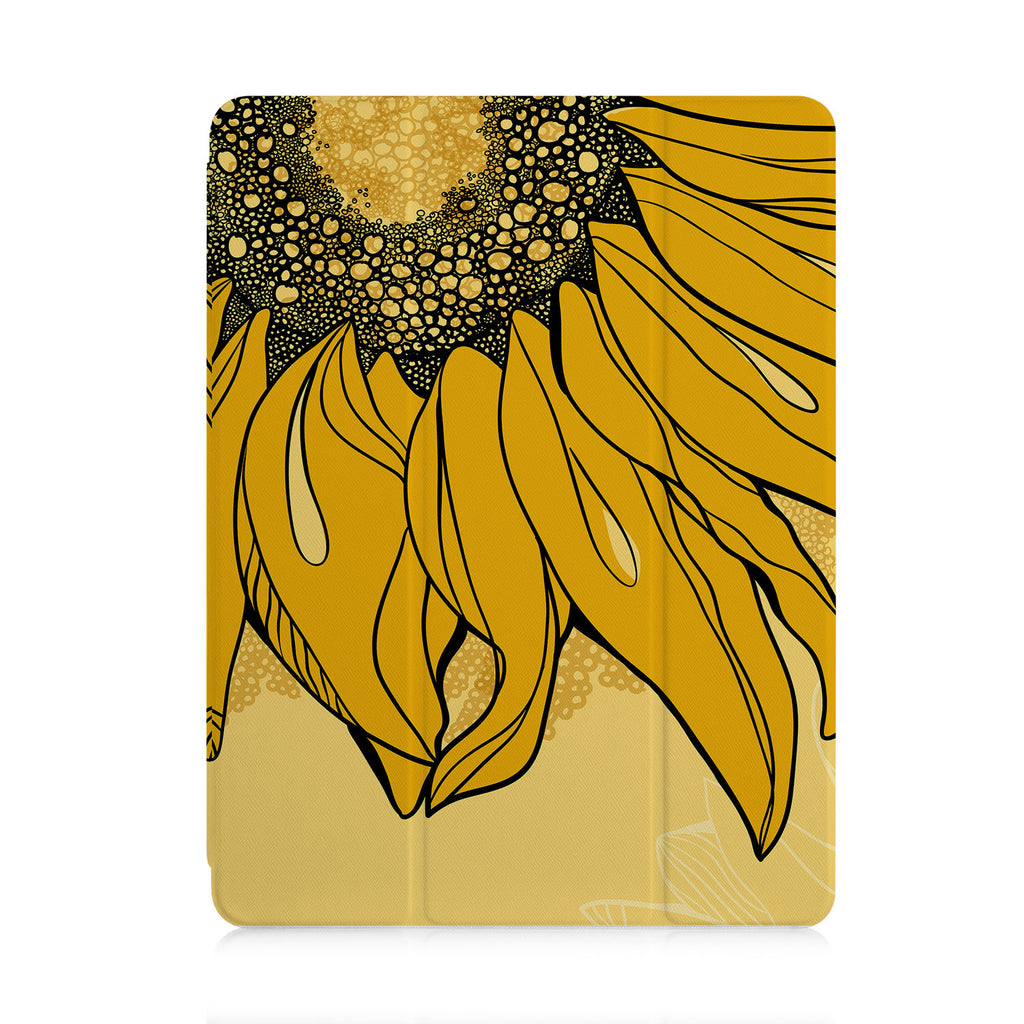 front view of personalized iPad case with pencil holder and Sunflower design