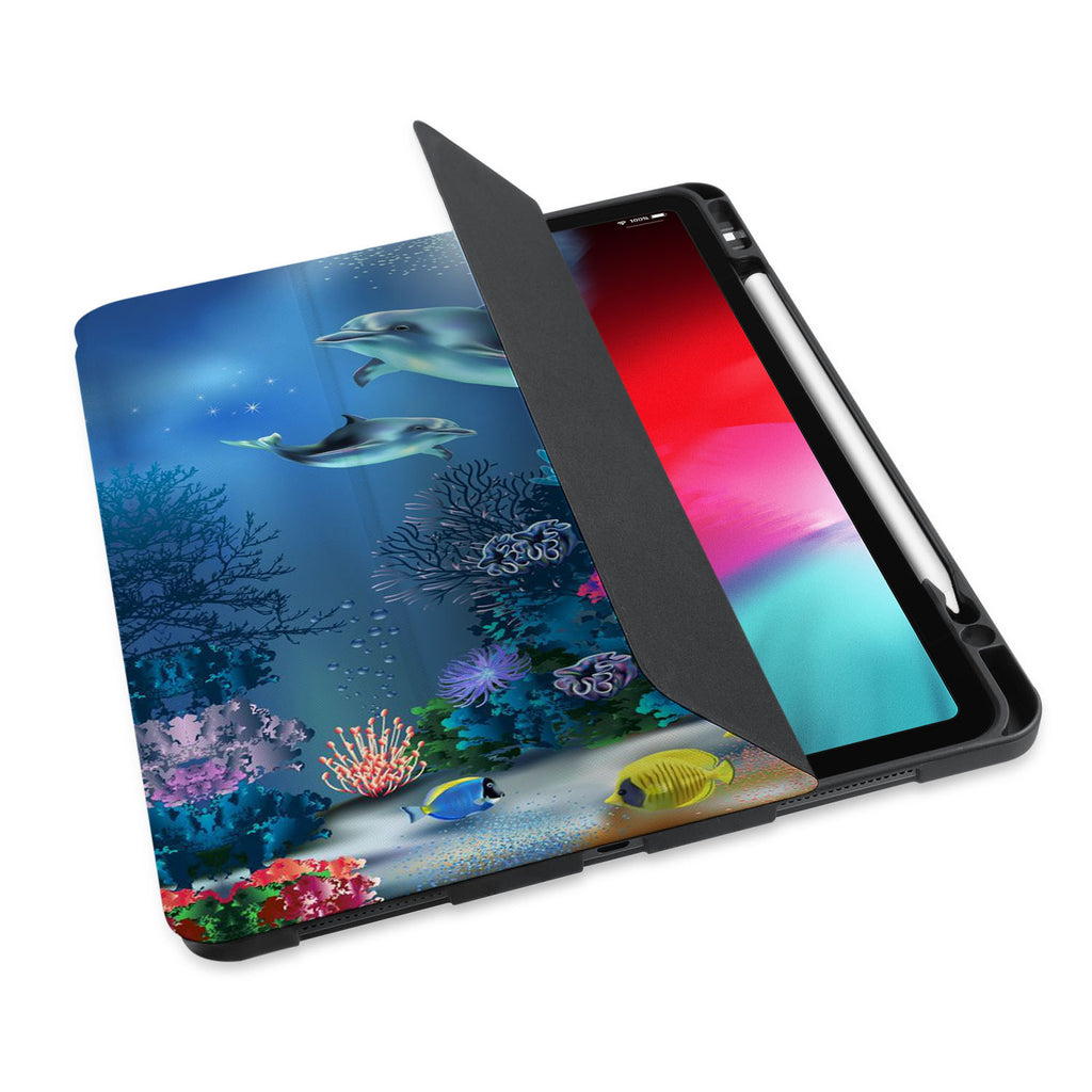 personalized iPad case with pencil holder and Dolphin design