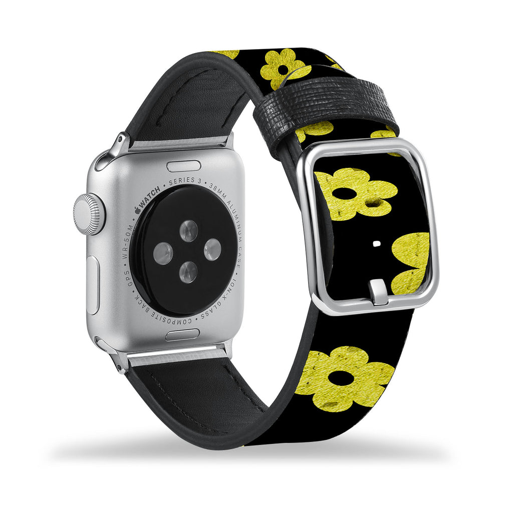 Printed Leather Apple Watch Band with Black Gold Pattern design Like all Apple Watch bands, you can match this band with any Apple Watch case of the same size