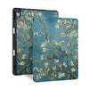 front back and stand view of personalized iPad case with pencil holder and Oil Painting design - swap