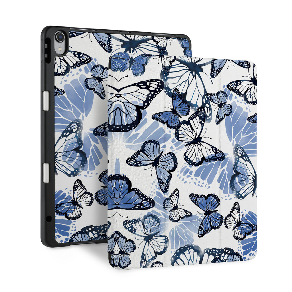 front and back view of personalized iPad case with pencil holder and Butterfly design